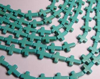 Howlite cross bead - howlite turquoise  -1 full strand - 25 crosses
