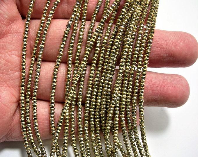 Crystal - rondelle  faceted 1mm x  2mm beads - 198 beads - gold metallic  - full strand - VSC21