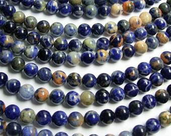 Sodalite -  8mm round beads - full strand - 48 beads - light orange inclusion - RFG430