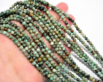 Turquoise - African - 4mm(4.5mm)round - full strand - 88 beads - A quality -RFG1318
