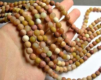 Petrified wood matte - 8mm round beads - full strand - 48 beads - Madagascar petrified wood - RFG1301