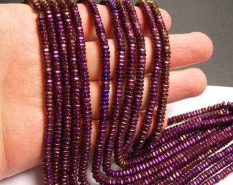 Hematite purple - 4mm x 2mm heishi square slice beads - full strand - 202 beads - AA quality - PHG174