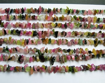 Tourmaline  - chip stone beads  -1 full strand - 36 inch - A quality - multicolor - PSC39