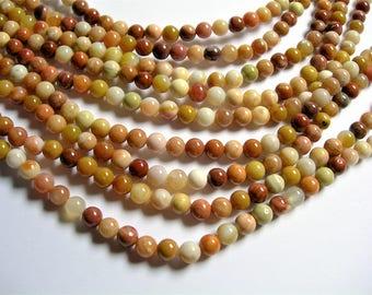 Petrified wood - 6mm round beads -1 full strand - 63 beads - Madagascar petrified wood - RFG1282