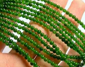 Jade  - 3mm(3.1mm) round beads - 1 full strand - 125 beads - AA quality - PG11