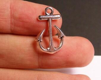 12 Anchor charms - hypoallergenic - 12 pcs - sailor anchor charms - silver tone anchor -   ASA36