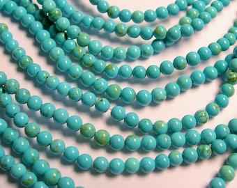 Howlite turquoise - 4mm round beads -1 full strand - 99 beads  - RFG702