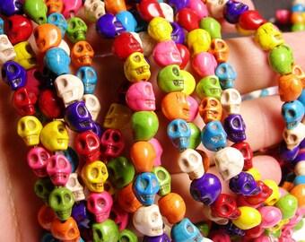 Multi-color Howlite Skull  - 8mm - full strand - 48 beads - WHOLESALE DEAL - THT1