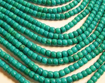 Howlite turquoise - 8mmx6mm barrel beads - 1 full strand - 62 pcs - AA quality - RFG190