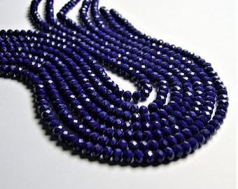 Crystal faceted rondelle - Blue - 97 beads - 6mm matte Blue - full strand - CRV175