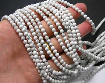 White Howlite turquoise - 4mm ( 4.4mm) round beads - full strand - 84 beads - RFG239