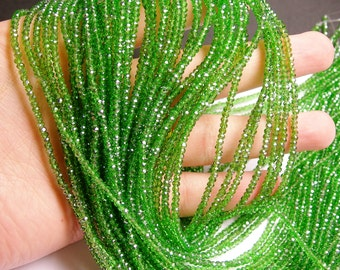 Crystal - rondelle faceted - 3mm x 2mm beads - 200 beads - AA quality  - green- ab - full strand - CAA2G25