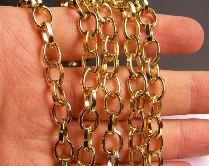 Gold chain - 1 meter - 3.3 feet - oval link aluminum chain - NTAC122