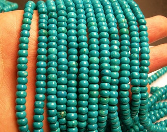 Howlite turquoise - 6mmx4mm Rondelle beads - 1 full strand - 100 pcs - AA quality - RFG189