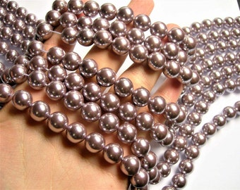 Pearl 12mm round lavender Pearl 1 full strand - 33 beads - SPT48 - Shell pearl