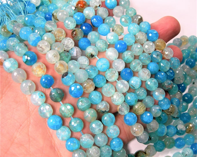 Blue crackled agate - 8mm faceted  round beads - full strand - 48 beads - Aqua blue fire crackle agate -  RFG1622