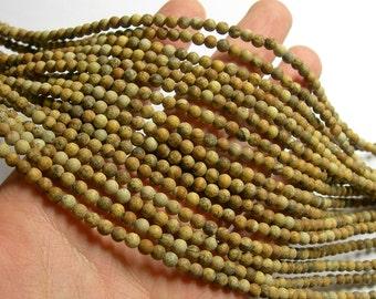 Picture Jasper matte - 4mm round beads -  full strand - 93 beads - Matte picture jasper - RFG1042