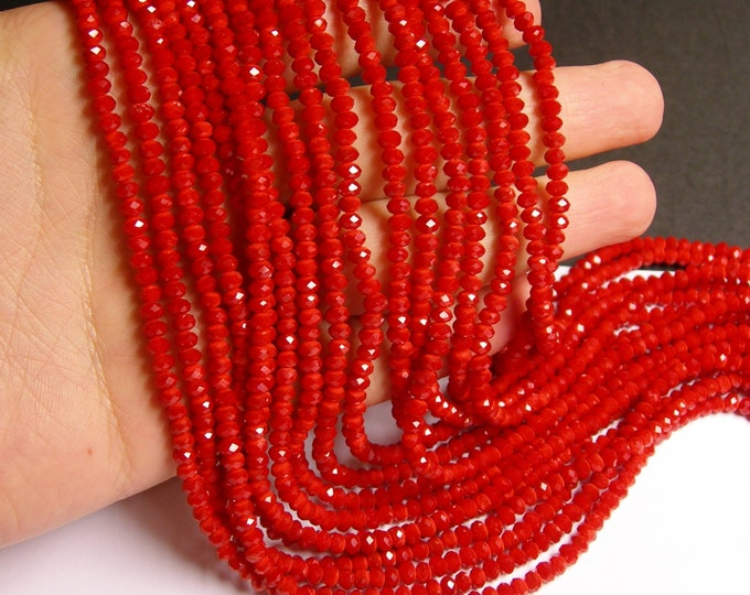 Crystal faceted rondelle - 135 pcs - 16 inch strand - 4 mm - A quality - coral red - FCRM48