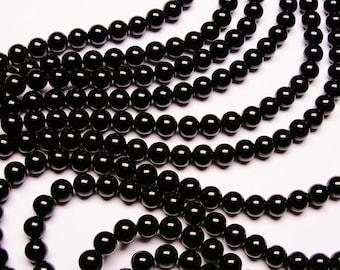 Black Onyx - 8 mm round beads - full strand - 48 beads - AA quality - RFG800