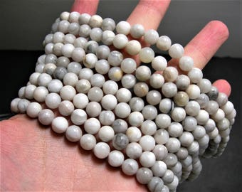 White lace agate - 8 mm round - full strand - 47 beads - RFG1115