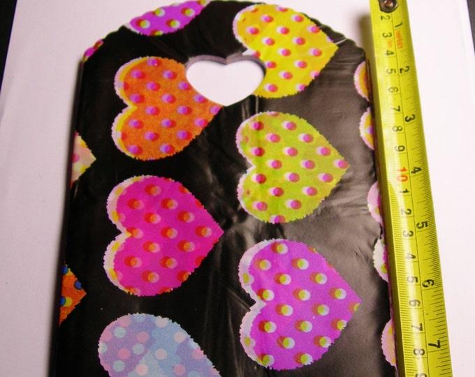 "QTY 50 - Plastic bags- Handle bags - retail bags - wholesale bags -heart handles - 5""x 8"" - LDPD27"