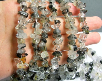 Tourmalinated quartz - rounded nugget chip stone -  Full strand - A quality - PSC185