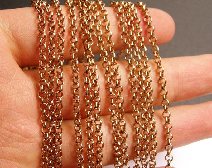 Copper chain - lead free nickel free won't tarnish - 1 meter - 3.3 feet - aluminum chain  -  NTAC79