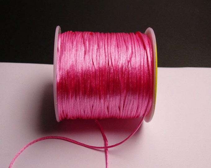Satin Rattail Cord - knotting/beading cord -1.5mm - 65 meter - 213 foot - pink - SSC23