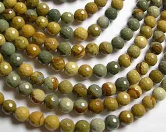 Wild horse Picture Jasper - 6 mm faceted round beads - full strand - 66 beads - AA quality - RFG1060
