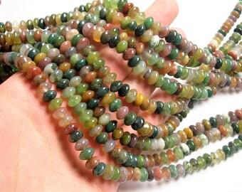 Indian agate 8mm rondelle - full strand - 77 beads per strand - 5mm x 8mm - RFG1192