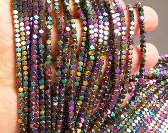 Hematite rainbow - 3mm faceted square - full strand - 142 beads - AA quality - PHG180
