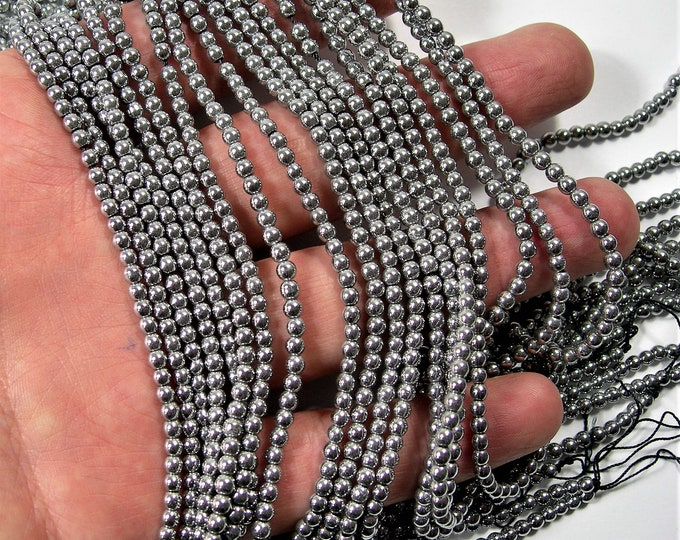 Silver Hematite - 3 mm round beads - full strand - 136 beads - AA quality - WHOLESALE DEAL - RFG1585