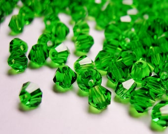 Crystal 4mm Bicone 100 pcs AA quality --sparkle evergreen green - B4002