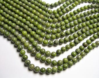 Green Pyrite - 8 mm round beads -1 full strand - 49 beads - A quality - RFG1431