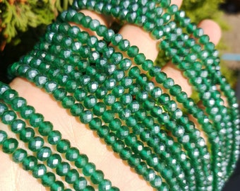 Crystal faceted rondelle - 97 pcs - 6 mm - full strand - frosted emerald green - GSH86