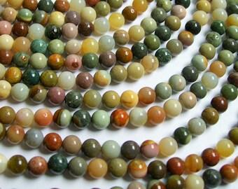 Polychrome jasper - 6 mm round beads - full strand - 65 beads - A quality - RFG434