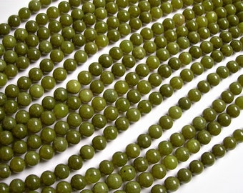 Olive Jade 8mm round beads - 1 full strand - 49 beads per strand - WHOLESALE DEAL - RFG1219