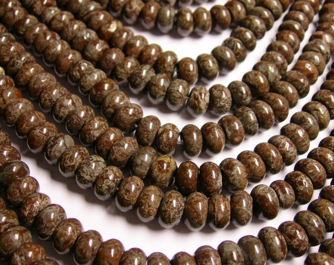Obsidian 10mm  rondelle - A quality - 67 beads per strand - brown  snowflake obsidian - RFG1444