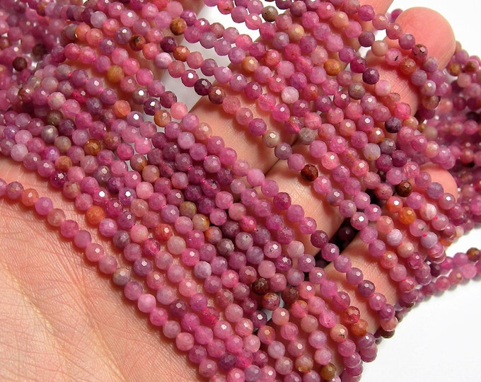 Ruby - 4mm(3.7mm) faceted round beads - full strand - 108 beads - 16 inch - 40 cm - Ruby gemstone - Micro Faceted - A Quality - PG121