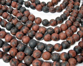 Mahogany Obsidian - matte -  8 mm A quality - 47 beads per strand - full strand - RFG468