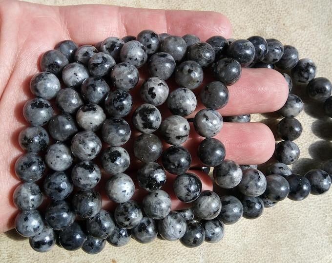 Larvikite - black labradorite - 10mm round beads - 19 beads - 1 set - A quality - HSG84