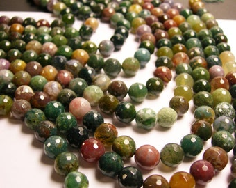 Indian Agate - 10 mm faceted round beads -1 full strand - 39  beads - RFG193