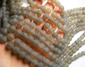 Grey Agate - 10mm round beads - Matte - full strand - 39 beads - AA quality - RFG1195