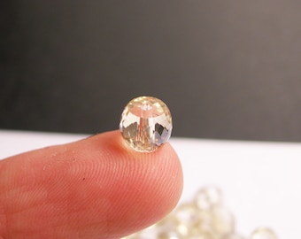 Crystal faceted rondelle barrel - 20 pcs - 8mm x 6mm - AA quality - light topaz - BCR2