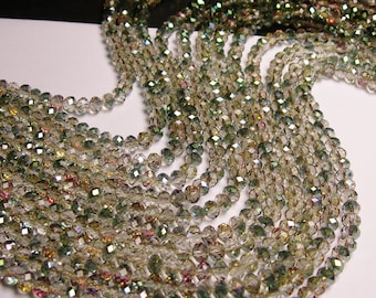 Crystal faceted rondelle - 98 beads - 6 mm - AA quality - watermelon sparkle - 18 inch strand - CRV62