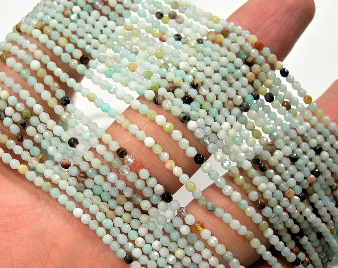 Amazonite - 2.2mm faceted round beads - 162 beads full strand - Amazonite gemstone - Micro Faceted - A Quality - PG180