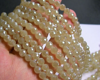 Crystal - round faceted 6mm beads - 100 beads - 26 inch strand - beige - AA quality - CRV53