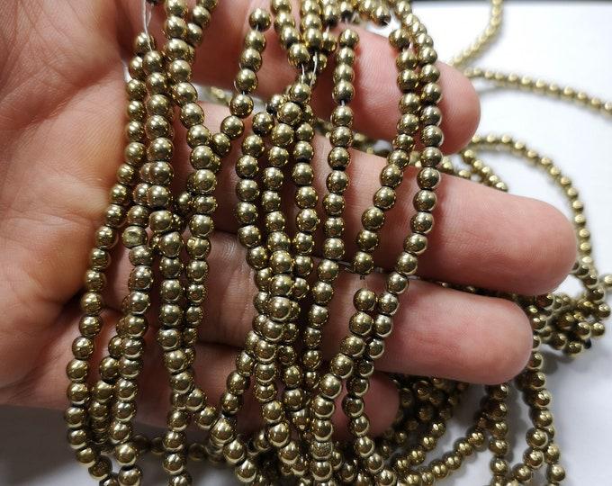 Gold Hematite - 4mm(3.9mm) round beads - full strand - 107 beads  - RFG2332