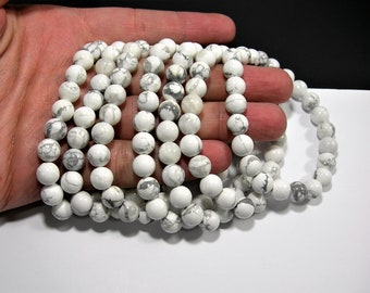 White Howlite turquoise - 8 mm round beads - 23 beads - 1 set - A quality - HSG4