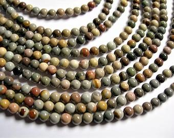 Polychrome jasper - 6mm  round beads - full strand - 62 beads - A quality - RFG1278